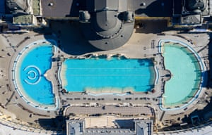 Empty outdoor pools of the Szechenyi Thermal Bath in Budapest, Hungary