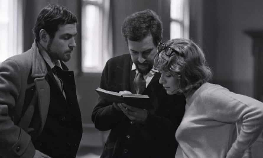 John Barton, centre, in rehearsal with Charles Thomas and Janet Suzman for Love's Labour's Lost, 1965