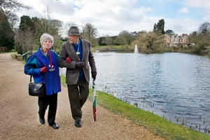 Dr Peter Jarvis and his wife Sue Jarvis at Bletchley Park.