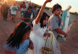 Members of the St Elizabeth Parish celebrate the crowning of Saint Mary in Topawa, Arizona.