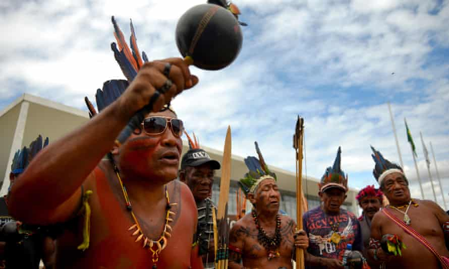 Members of the Kanela, Gaviao and Guajajara indigenous groups protest against the encroachment of ranchers on their traditional lands