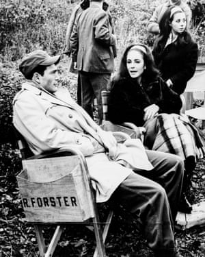 Robert Forster with Elizabeth Taylor on the set of Reflections in a Golden Eye, 1967.