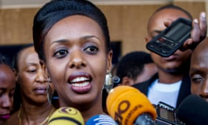 Diane Shima Rwigara talking to the media in Kigali in June