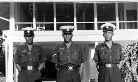 Guards outside the governor's residence in Georgetown, British Guiana, in around 1955.