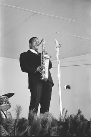 John Coltrane performs in Monterey, 1960.