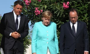 Angela Merkel with Matteo Renzi, who has resigned after his referendum defeat, and François Hollande, who is not seeking another term.