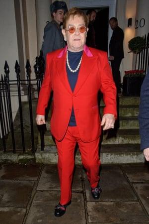 Elton John leaving Evgeny Lebedev's party in December 2017