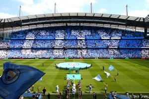 General view of the Etihad Stadium as Manchester City walk out prior to their 0-0 draw again Huddersfield.