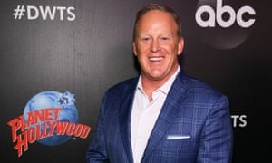 Sean Spicer arrives at the 2019 Dancing with the Stars cast reveal.