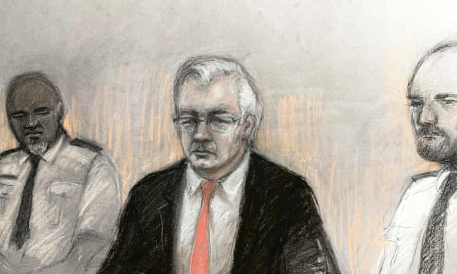 A court sketch of Julian Assange in the dock