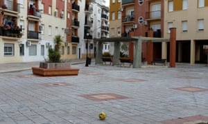 A ball in an empty square after it was thrown from the terrace of a house in Ronda, southern Spain
