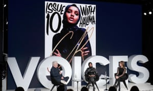 Halima Aden on stage with Business of Fashion's editor-at-large, Tim Blanks, and her mentor, the stylist Carine Roitfeld.