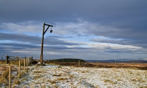 Winters Gibbet monument in lonely moorland