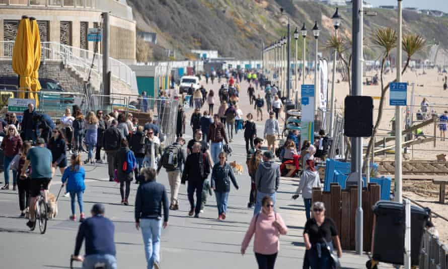 The seafront on Boscombe beach in Dorset on Friday. Police have asked people not to crowd in open spaces and follow the rule of six.