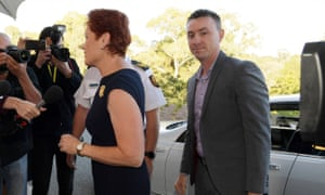 Pauline Hanson and James Ashby arrive at Parliament House the morning after his altercation with former One Nation senator Brian Burston