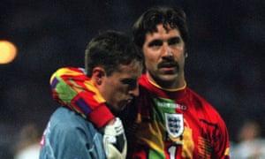 David Seaman comforts Gareth Southgate after his missed penalty
