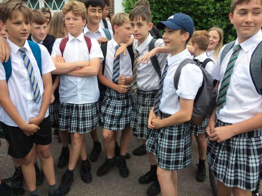 Boys at Isca academy wearing skirts
