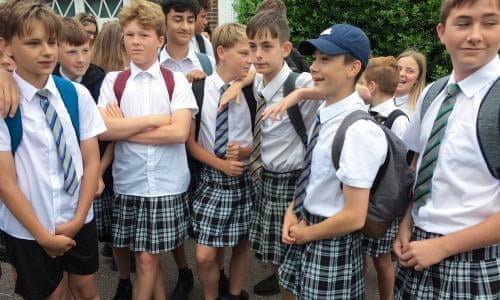 ad3fddeb82 Teenage boys wear skirts to school to protest against 'no shorts' policy |  Education | The Guardian