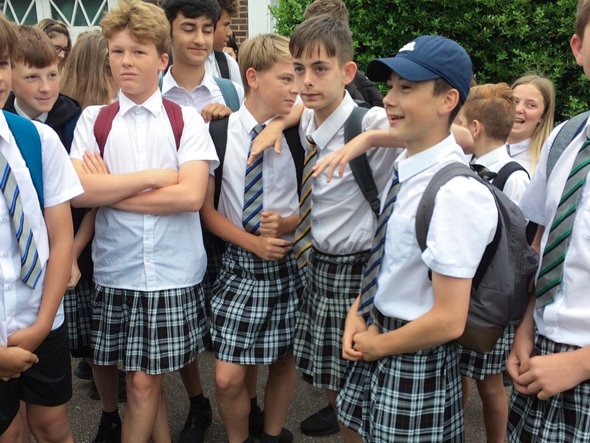 Teenage boys wear skirts to school to protest against 'no shorts' policy |  Schools | The Guardian