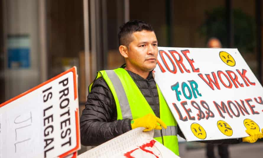 Guillermo Camacho protests outside Facebook offices in London.