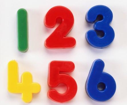 Plastic numbers, 1-6.