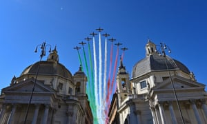 The Italian Air Force acrobatic unit Frecce Tricolori perform over Rome.