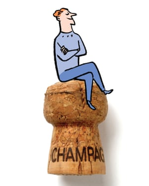 Illustration of person sitting on champagne cork