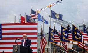 Donald Trump delivers remarks to mark the 75th anniversary of the end of the second world war, in Wilmington, North Carolina.