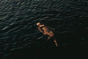 Women floats in the sea.