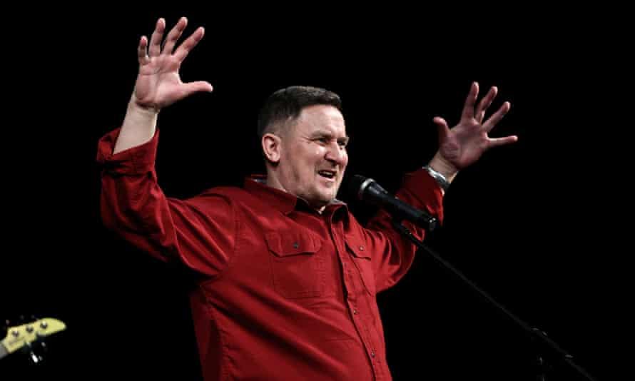 Dmitry Butakov of Galasy ZMesta band performs in Minsk in 2020.