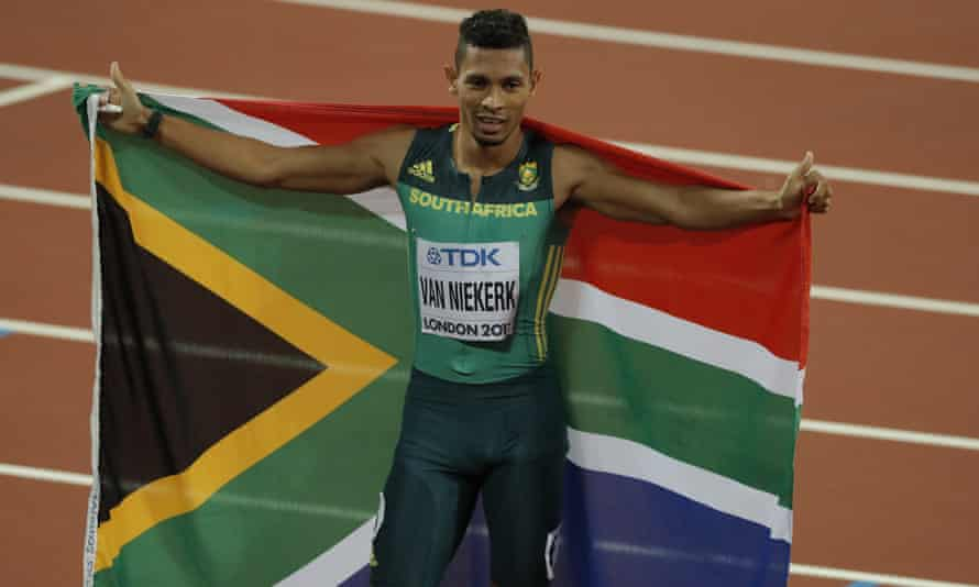 Wayde van Niekerk celebrates after winning the men's 400m final at the 2017 World Athletics Championships in London