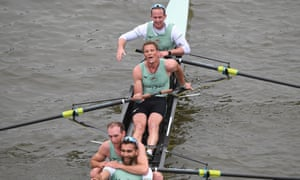 James Cracknell (centre) after the Cambridge team won the Boat Race.