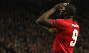 Romelu Lukaku reacts after missing a shot during the first leg.