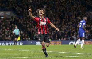 Ake celebrates making it 3-0 Bournemouth.