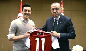 Mesut Ozil poses with Turkey's president, Recep Tayyip Erdogan, in May.