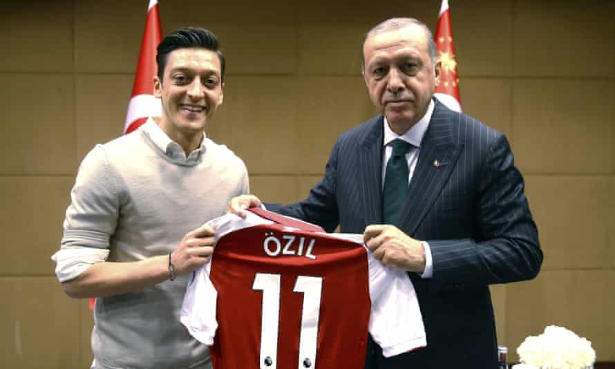 Mesut Ozil poses with Turkey's president, Recep Tayyip Erdogan, in May.