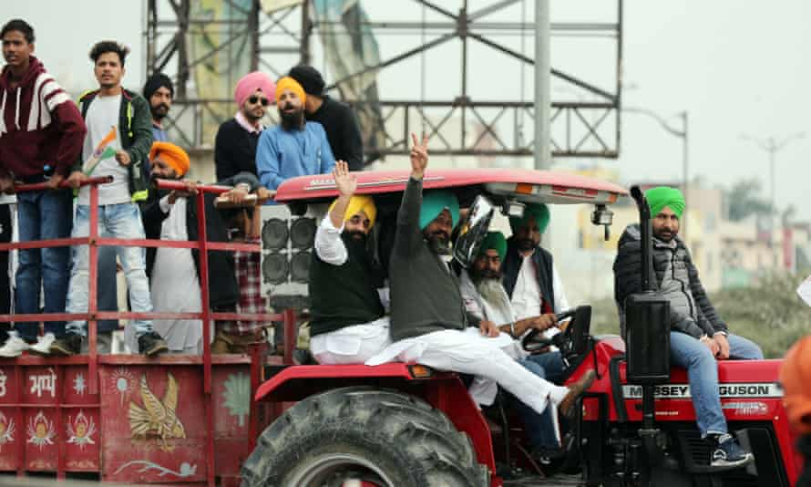 Protesters in Amritsar take part in a demonstration supporting farmers during the launch of a national strike.
