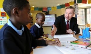 Pupils at the former Durand Academy school in Stockwell meet Michael Gove in 2013.