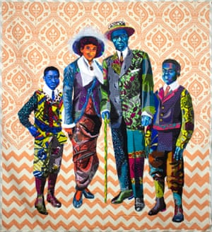 Black Star Family by textile artist Bisa Butler.