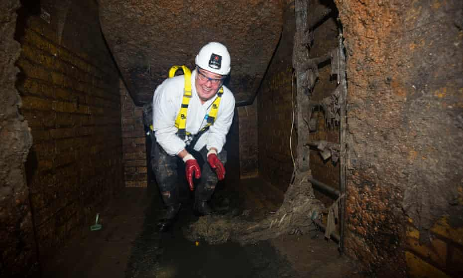 Stephen Moss inside the Crypt sewer.