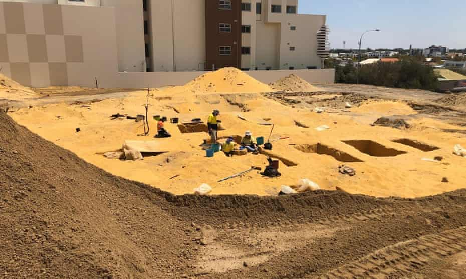 Archeologists work on one of the largest exhumation of human remains in Perth, Western Australia
