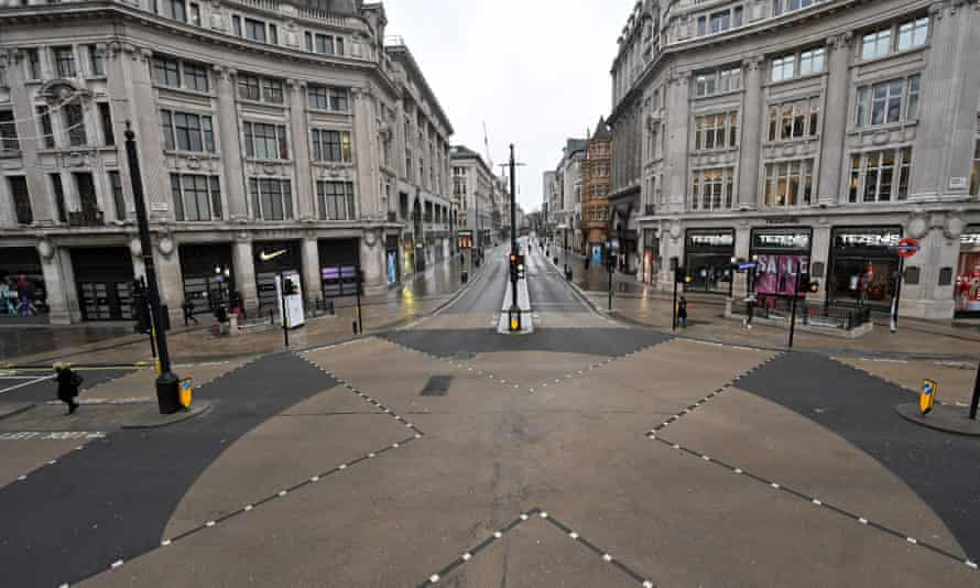 a deserted Oxford Street in London