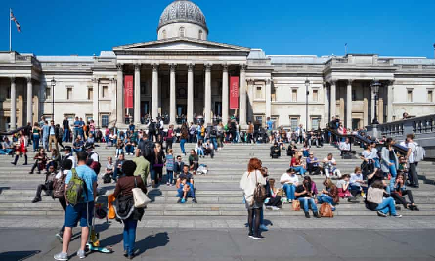 Tourists outside the National Gallery in London