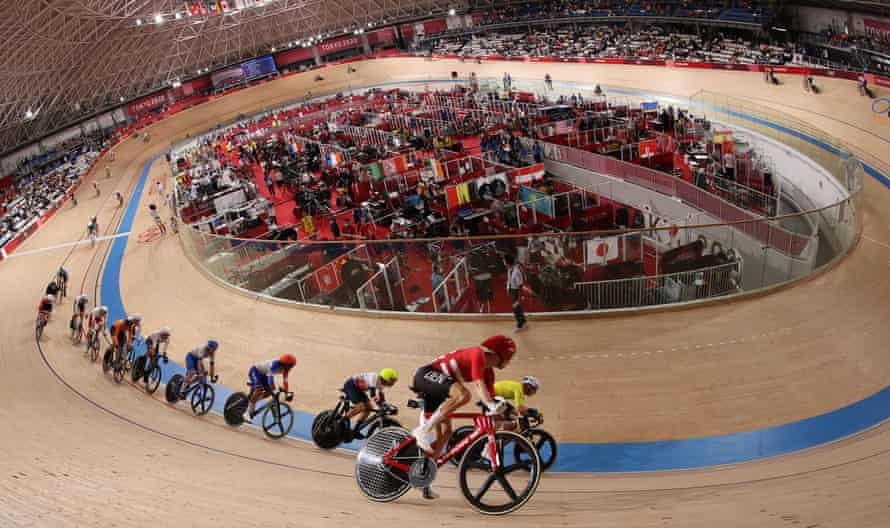 Action from the men's madison.