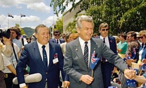 'Fairly obviously, Malcolm Fraser could never have presided over the revels in the same way that Hawke did.' Alan Bond (L) and Bob Hawke (R).