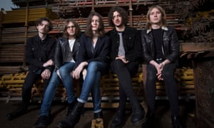 Stockport band Blossoms in the scaffolding yard belonging to bassist Charlie Salt's grandfather