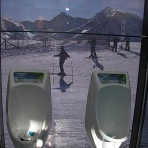 Stream of consciousness … toilet with a sloping view at Grandvalira ski resort, Andorra.