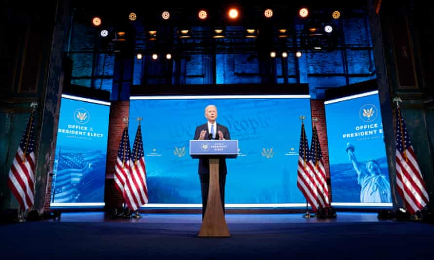 President-elect Joe Biden speaks about the electoral college vote certification process on 14 December 2020 in Wilmington, Delaware.