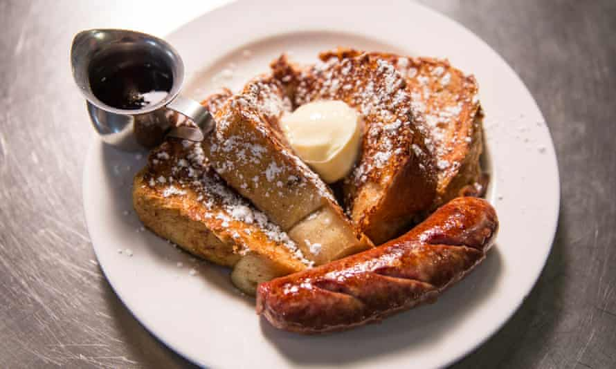 French toast, and a sausage, on a plate, photo taken from above, at Matt's Big Breakfast, Phoenix, Arizona