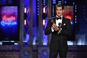 Andrew Garfield accepts his award.